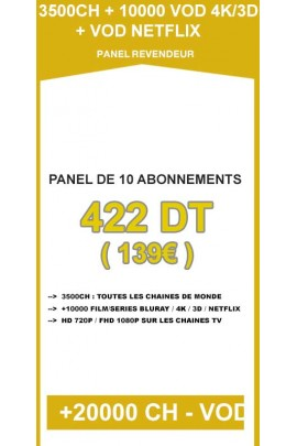 Revendeur IPTV 10 codes - 3500CH + 10000VOD 4K/3D